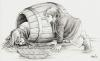 Bilbo Baggins and Thorin in a barrel